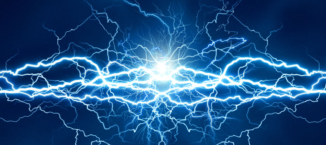 Electric current on a blue background