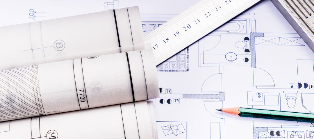 Blueprints, pencil and ruler