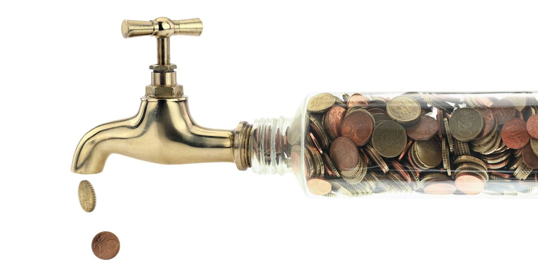 Water tap with a pipe full of money