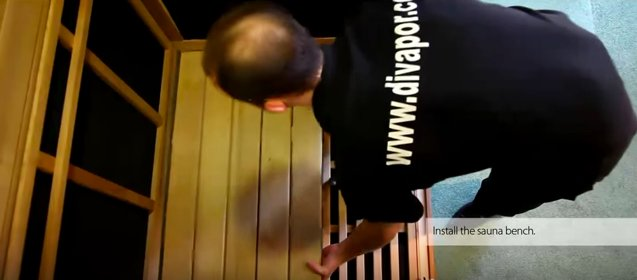 Placing the bench in the sauna