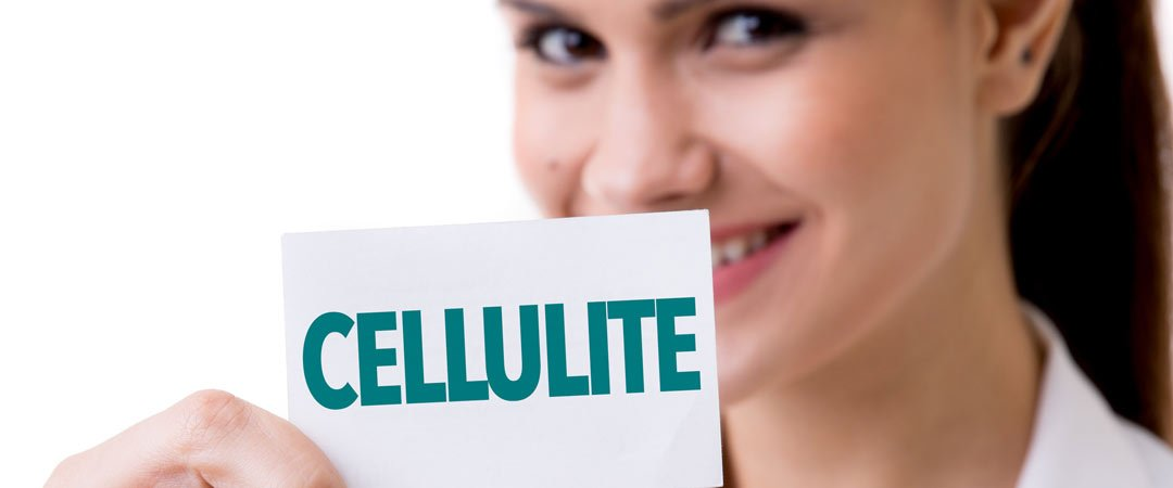 "Woman holding a ""cellulite"" sign"
