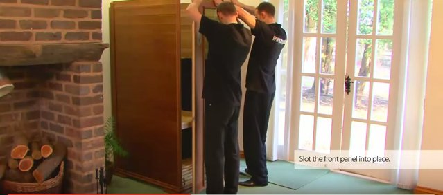 Positioning the door into the sauna base