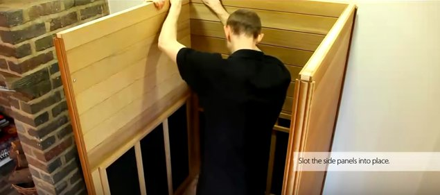 Installing second wall into sauna base
