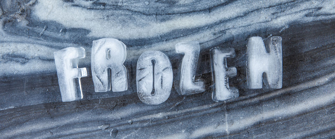 Frozen made from ice cubes