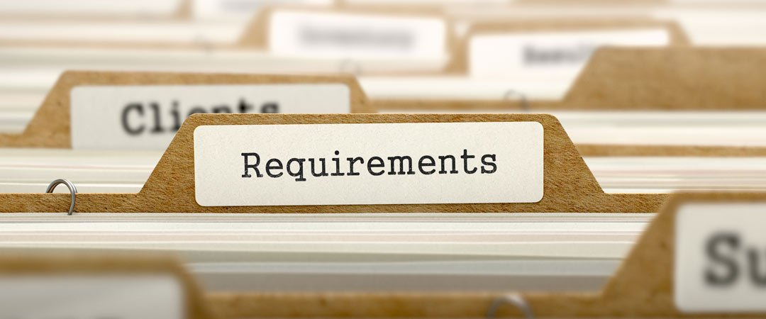 Requirements file in filing cabinet