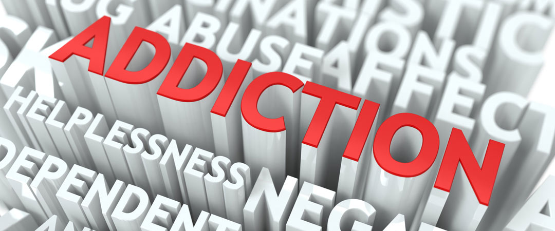 Addiction in red standing out among other words