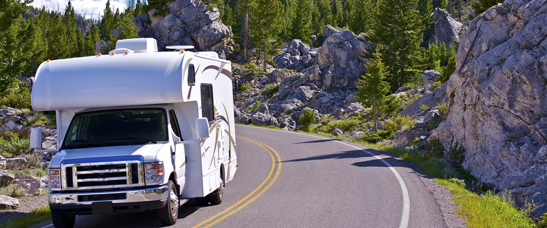 RV driving down a mountain road
