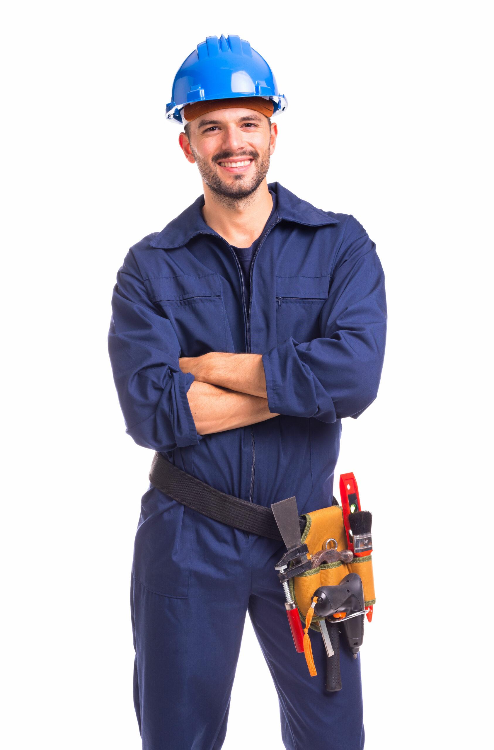 Repair man with hard hat